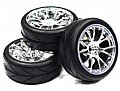 INT-C23482S - INTEGY RODA + PNEU 12 Spoke Complete Wheel & Tire Set (4) Wide Offset for 1/10 Touring Car