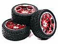 INT-C23480R - INTEGY RODA + PNEU 10 Spoke Complete Wheel & Tire Set (4) Wide Offset for 1/10 Touring Car