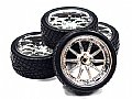 INT-C23480S - INTEGY RODA + PNEU 10 Spoke Complete Wheel & Tire Set (4) Wide Offset for 1/10 Touring Car