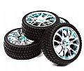 INT-C23436B - INETGY RODA + PNEU 12 Spoke Complete Wheel & Tire Set (4) for 1/10 Touring Car