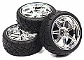 INT-C23483S - INTEGY RODA + PNEU 7 Spoke Complete Wheel & Tire Set (4) Wide Offset for 1/10 Touring Car