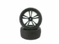HIM31310B - HIMOTO RODA MONTADA TRASEIRA Black Buggy Rear Tires and Rims (31212B+31308) 2P