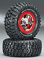 TRAX5867 - Traxxas RODA MONTADA SCT Front/Rear Tire On Red Beadlocks Slash (2)