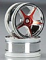 TTRPD6601-R - Thunder Tiger RODA 26mm 5-Spoke Wheel Chrome/Red TA-VX (02)