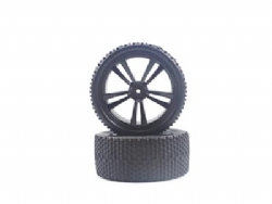 HIMOTO RODA MONTADA DIANTEIRA Black Buggy Front Tires and Rims (31211B+31307) 2P